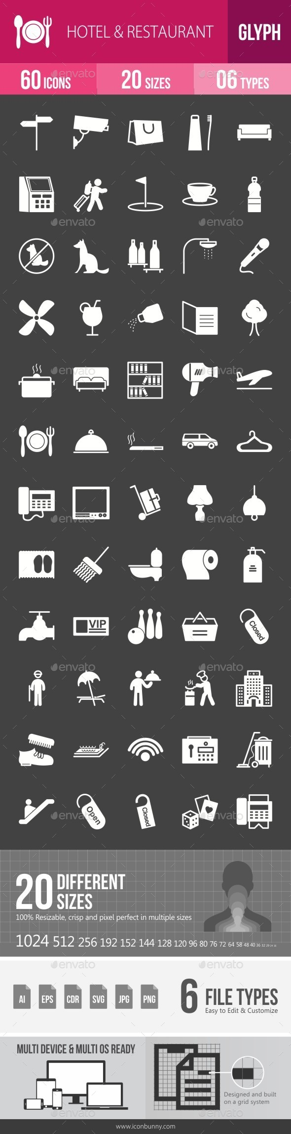 Hotel & Restaurant Glyph Inverted Icons - Icons
