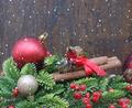 Christmas decorations on wood background - PhotoDune Item for Sale