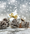 Christmas gift on snowflakes background - PhotoDune Item for Sale