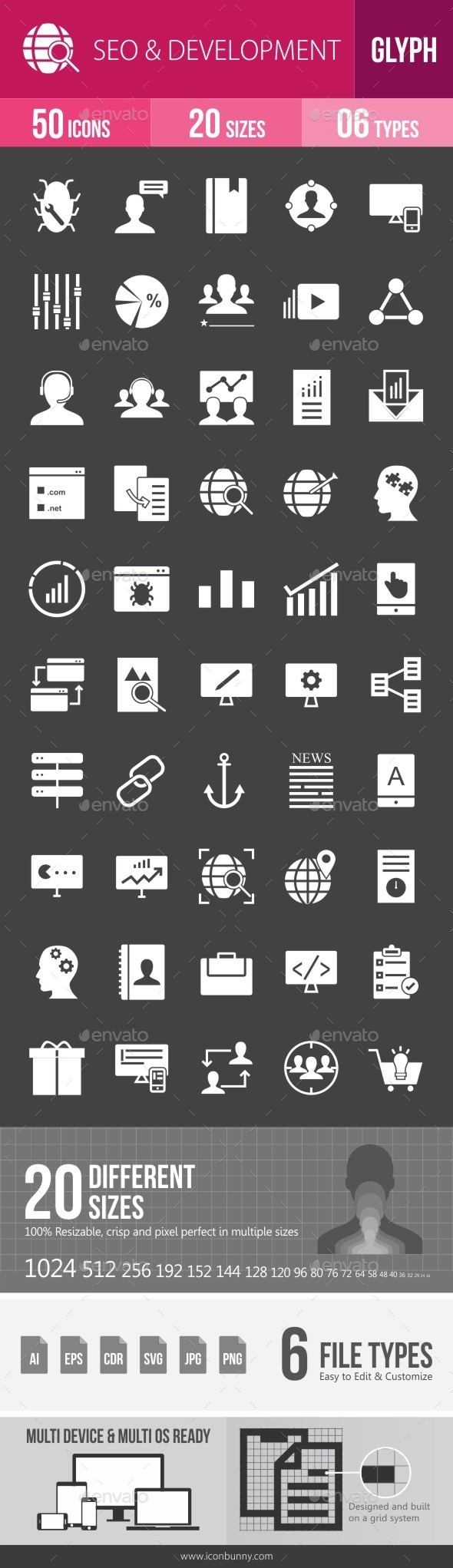 SEO & Development Services Glyph Inverted Icons - Icons