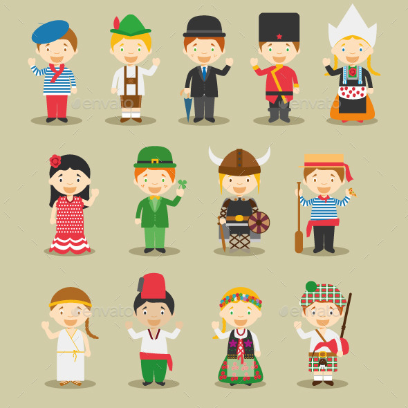 Kids and Nationalities of Europe - People Characters