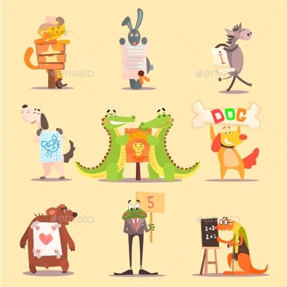 Cute Animals Cartoon Illustrator Flat Design - Animals Characters