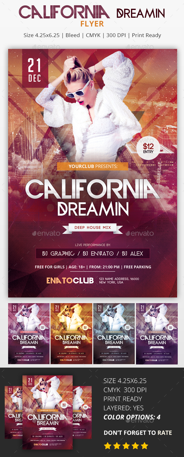 California Dreamin - PSD Flyer - Flyers Print Templates