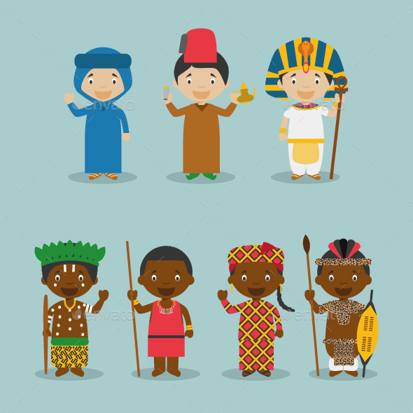 Kids and Nationalities of Africa - People Characters