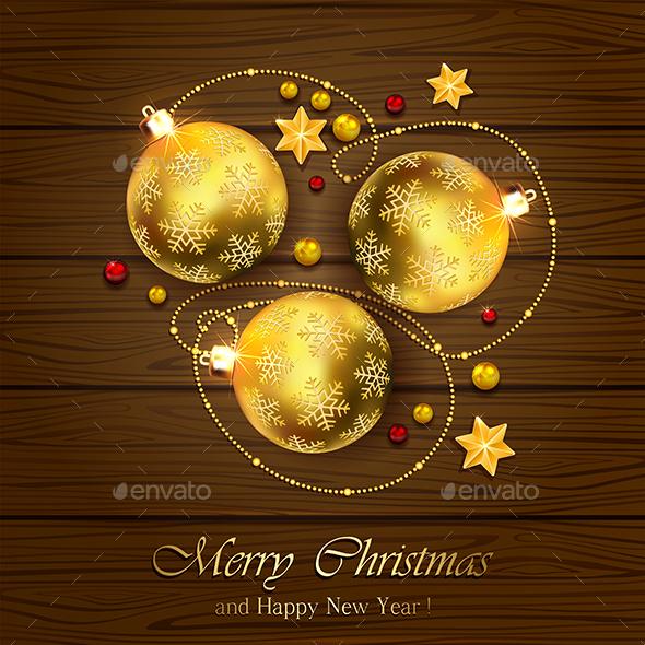 Christmas Balls on Wooden Background - Christmas Seasons/Holidays