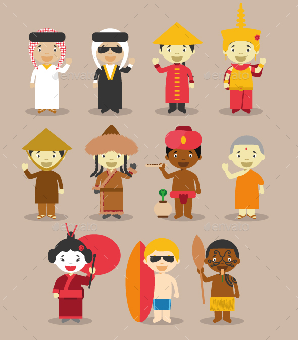 Kids and Nationalities of Asia and Oceania - People Characters