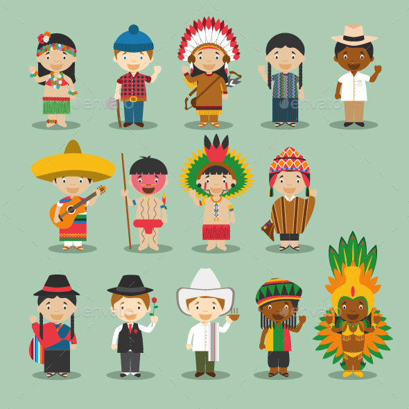 Kids and Nationalities of America - People Characters