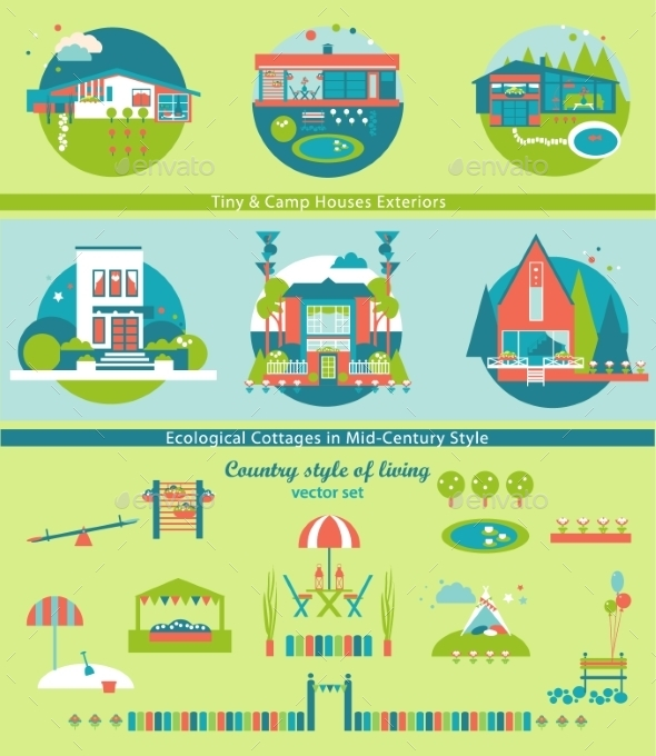 Ecological Cottages And Camp Houses Vector Set. - Buildings Objects