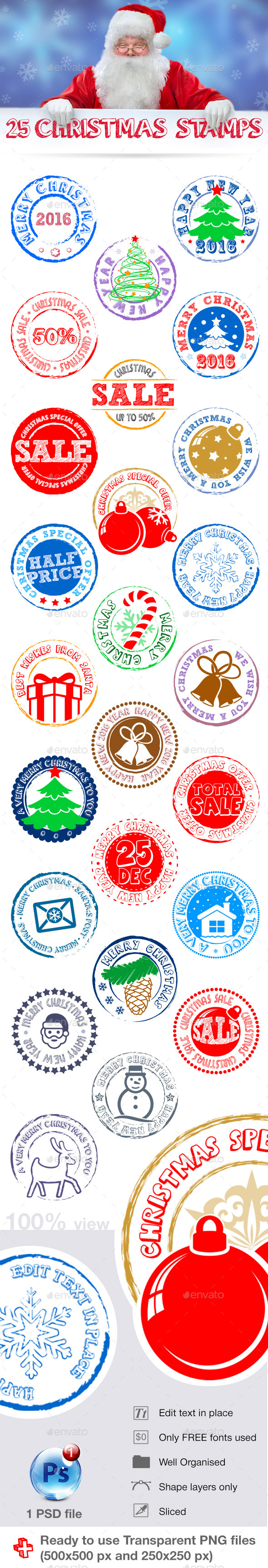 25 Chrsitmas stamps - Web Elements