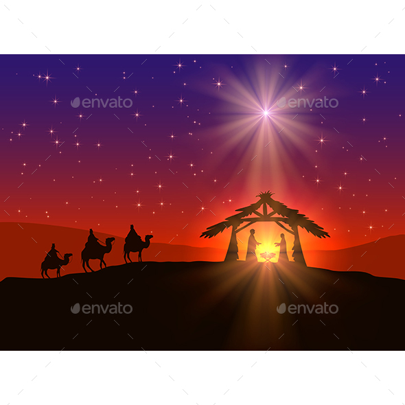Christian Christmas Background with Star - Christmas Seasons/Holidays