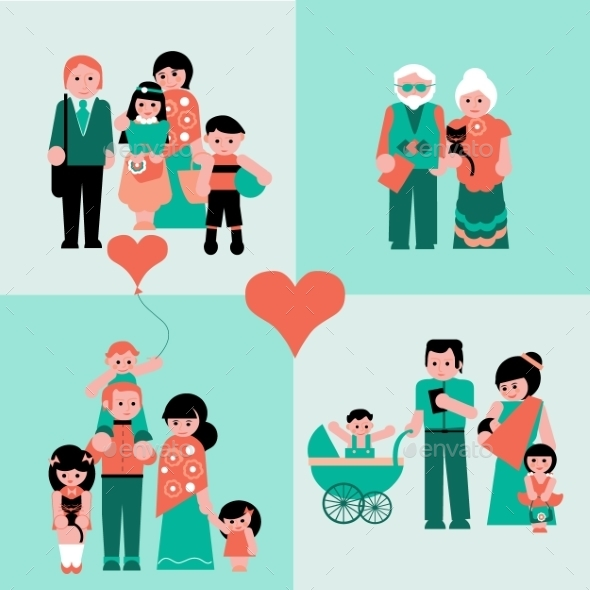 Family Figures Icons Set Of Parents, Kids - People Characters
