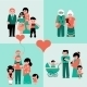 Family Figures Icons Set Of Parents, Kids - GraphicRiver Item for Sale