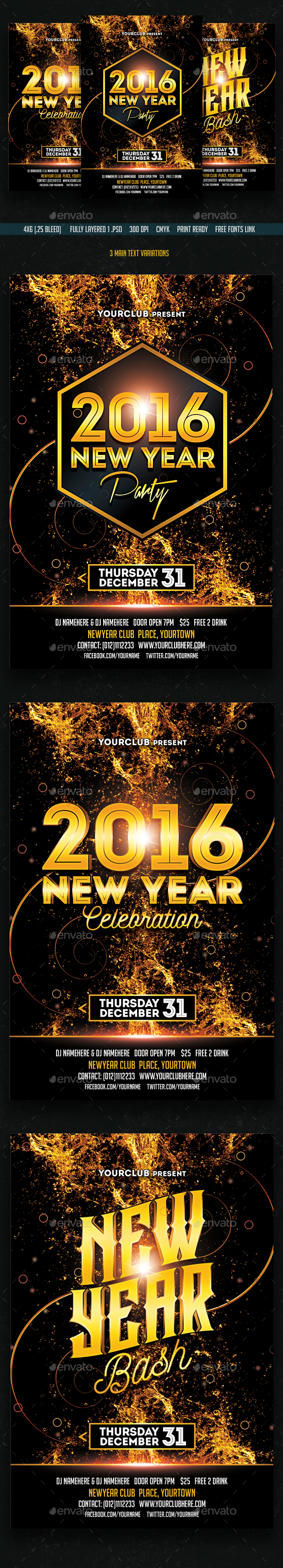 New Year Party/Bash/Celebration Flyer Flyer - Clubs & Parties Events