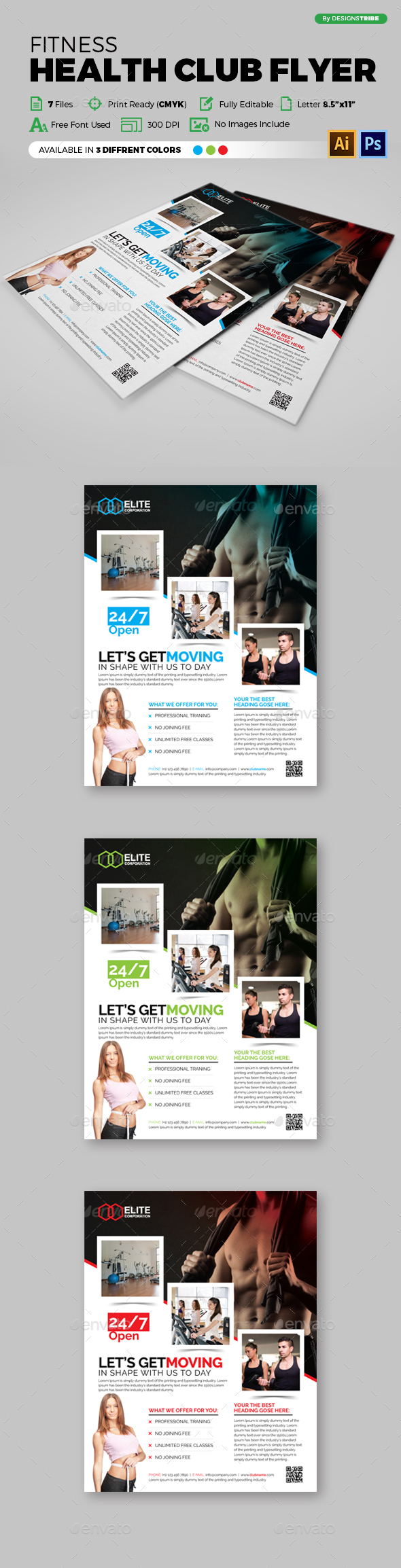 Fitness Health Club Flyer 92 - Flyers Print Templates