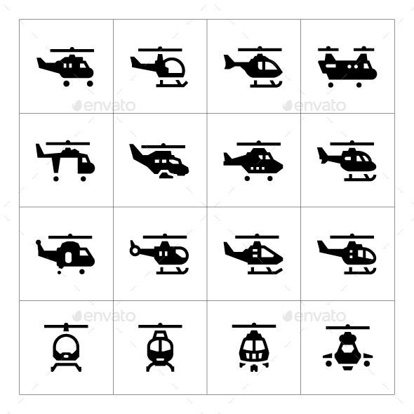 Set Icons of Helicopters - Man-made objects Objects