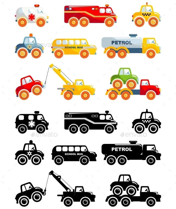 Set Of Toys Transportation In A Flat Style - Man-made Objects Objects