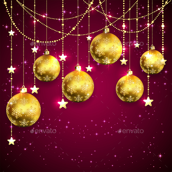 Golden Christmas Balls on Purple Background - Christmas Seasons/Holidays