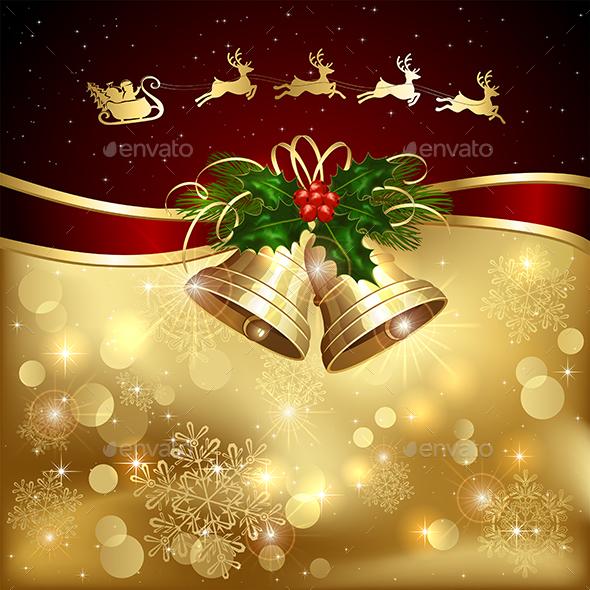 Christmas Background with Santa and Bells - Christmas Seasons/Holidays