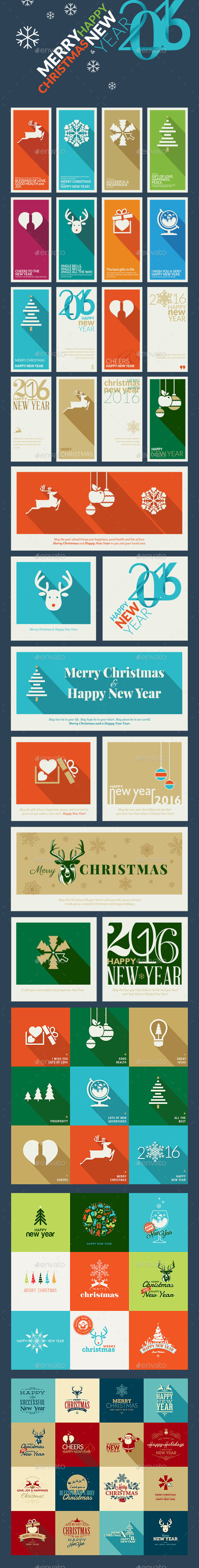 Flat Design Christmas and New Year Greeting Cards - Christmas Seasons/Holidays