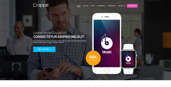 Appe – App Landing Page for Mobile & Watch