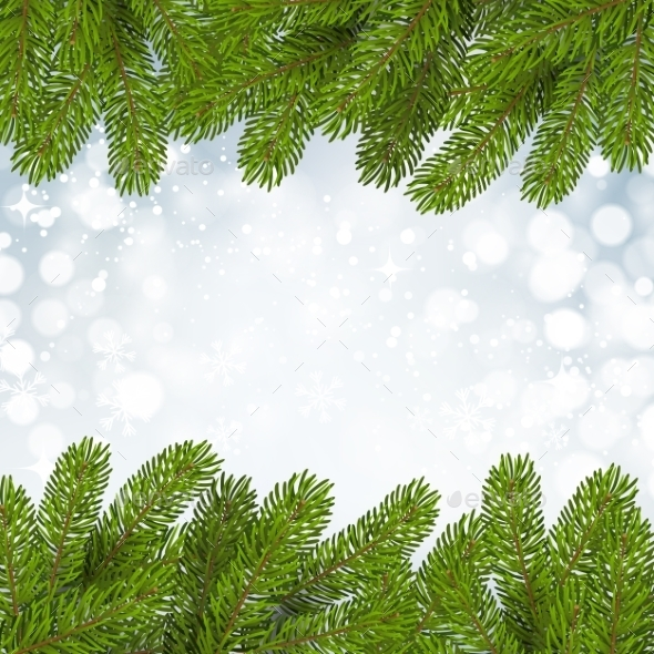 Christmas Background with Snow and Branches - Christmas Seasons/Holidays