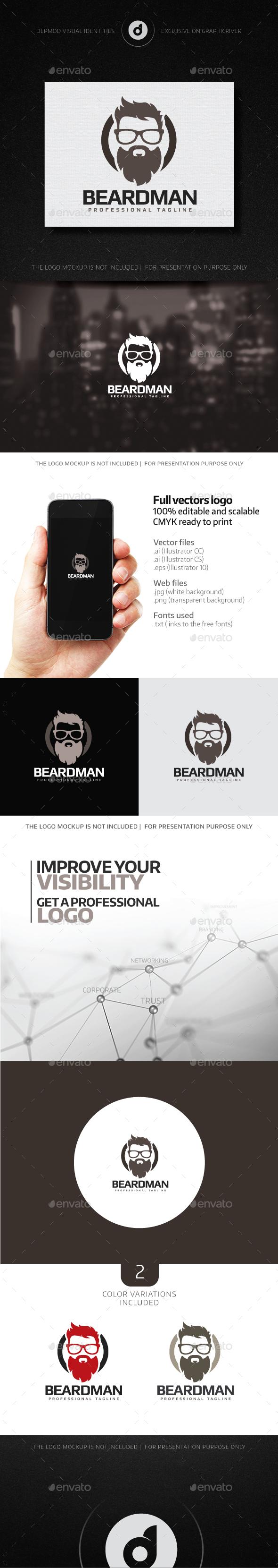 Beard Man Logo - Humans Logo Templates