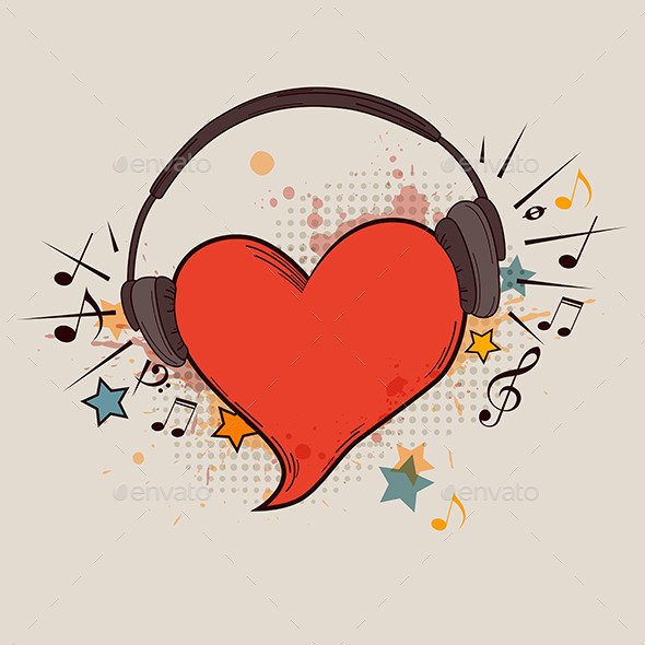 Red Heart and Headphones - Miscellaneous Vectors