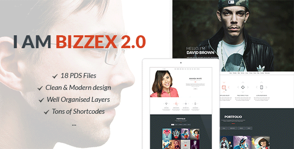 Bizzex - Modern Flat Portfolio Theme - Personal PSD Templates