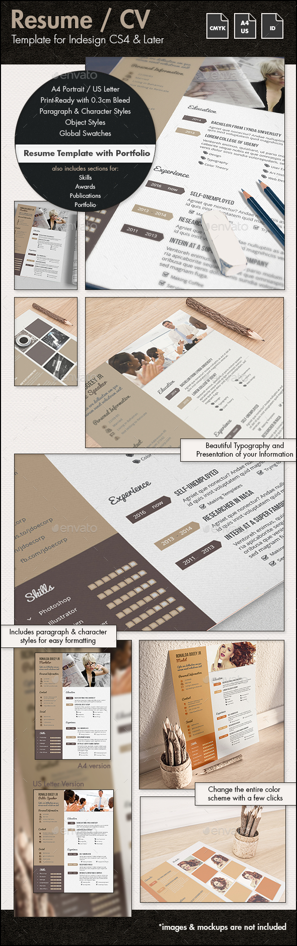 Resume / CV Template with Portfolio - A4 & US - Resumes Stationery