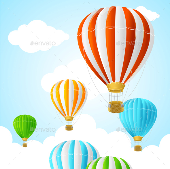Hot Air Background Card. Vector - Travel Conceptual