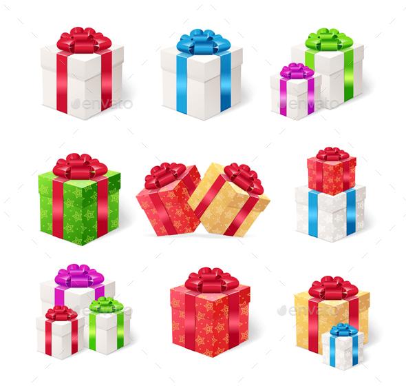 Present Boxes Set. Vector - Seasons/Holidays Conceptual