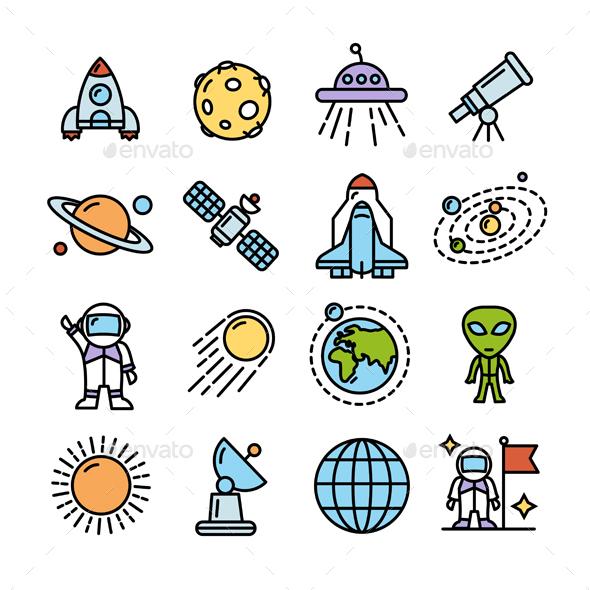 Spase Colorful Icons Set. Vector - Conceptual Vectors