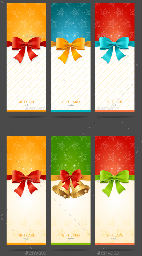 Present Xmas Card with Bow and Bell Set. Vector - Seasons/Holidays Conceptual