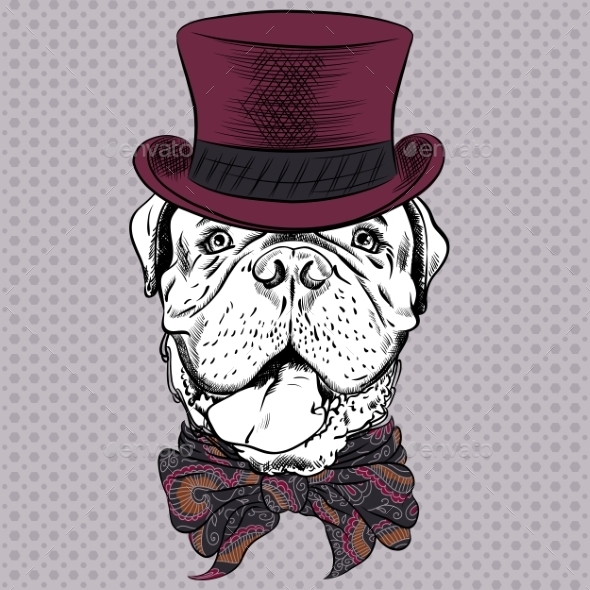 Cartoon Hipster Dog French Mastiff - Animals Characters
