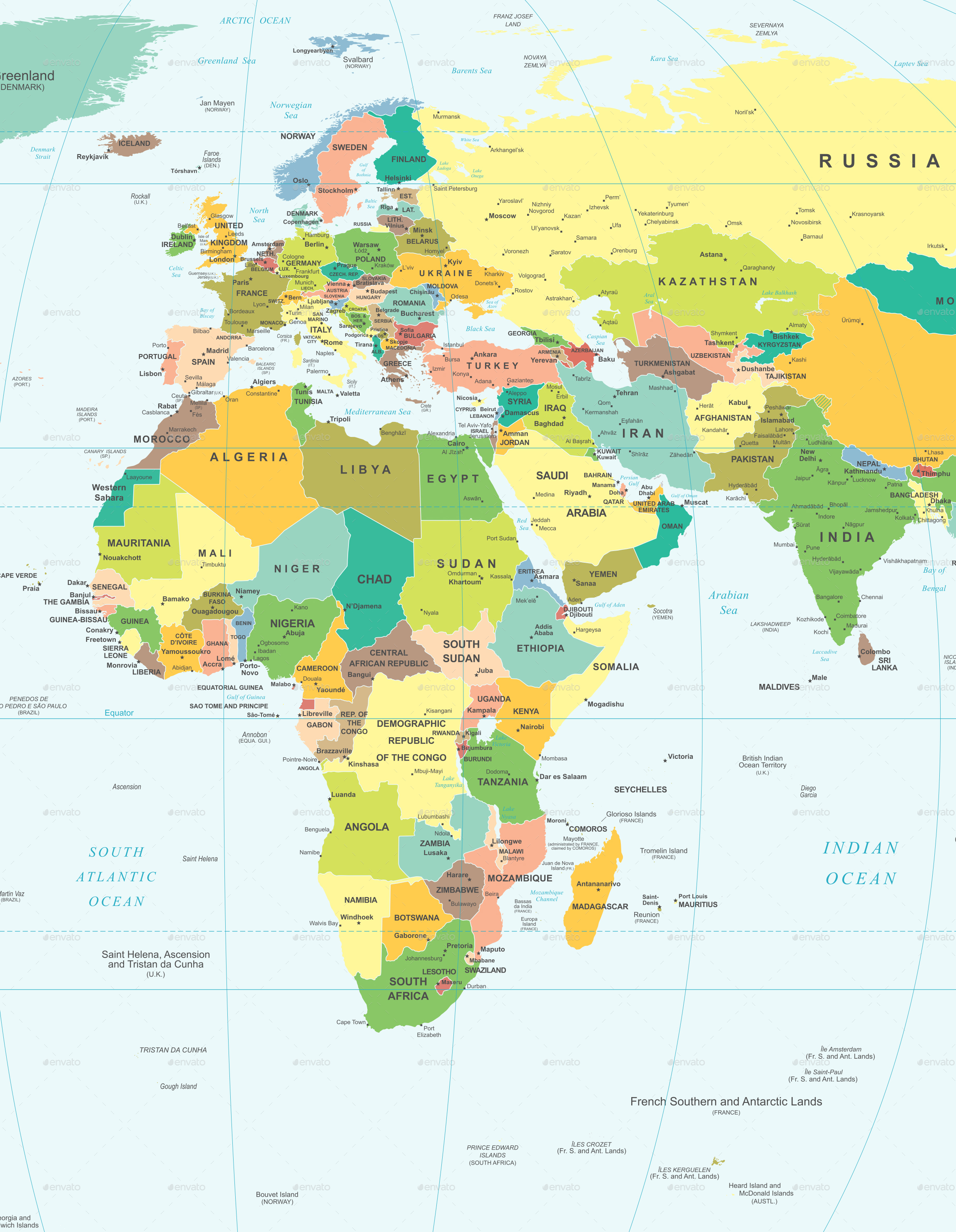 World map illustration color and grid square by dikobrazik 0278 world map r color and grid square q10g gumiabroncs Choice Image