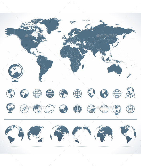 World Map with set of Globes Icons and Symbols.  - Travel Conceptual