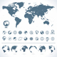 World Map with set of Globes Icons and Symbols.  - GraphicRiver Item for Sale