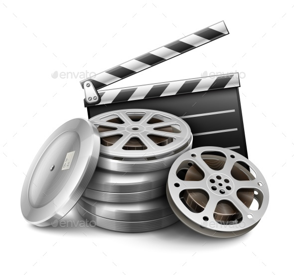 Movie Film Disk with Tape and Directors Clapper - Retro Technology