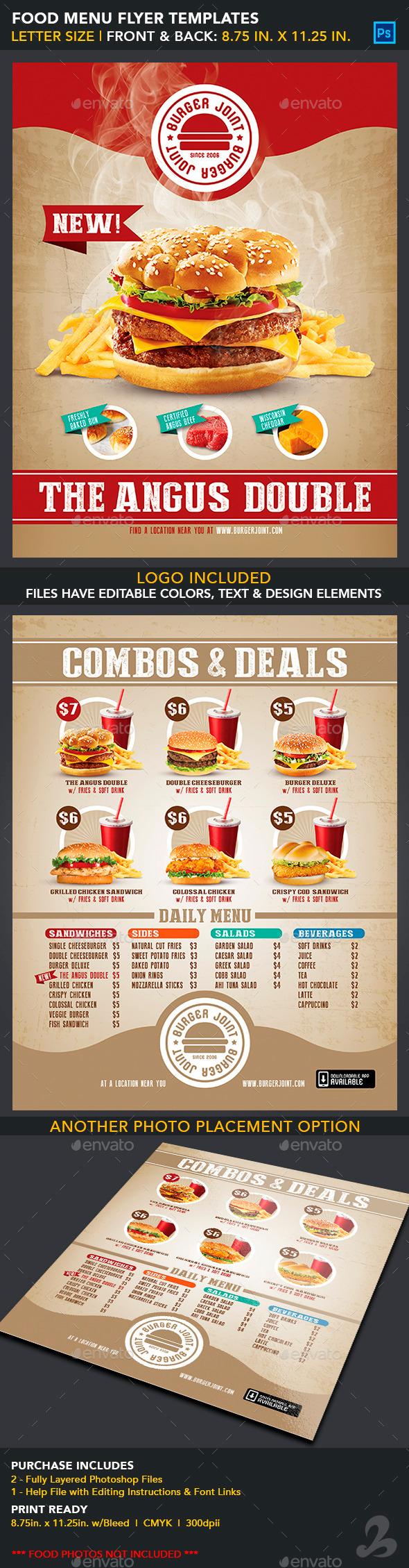 Food Menu Flyer Templates - Burger Joint - Food Menus Print Templates