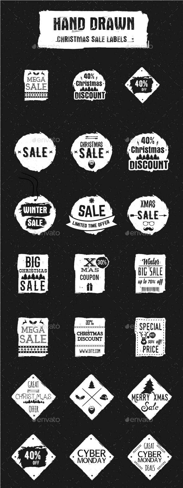 Hand Drawn Christmas Sale Labels. - Badges & Stickers Web Elements