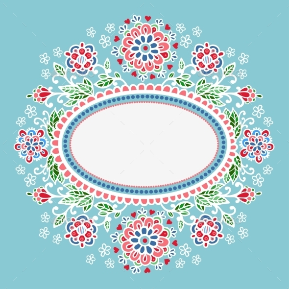 Oval Frame With Flowers. - Backgrounds Decorative