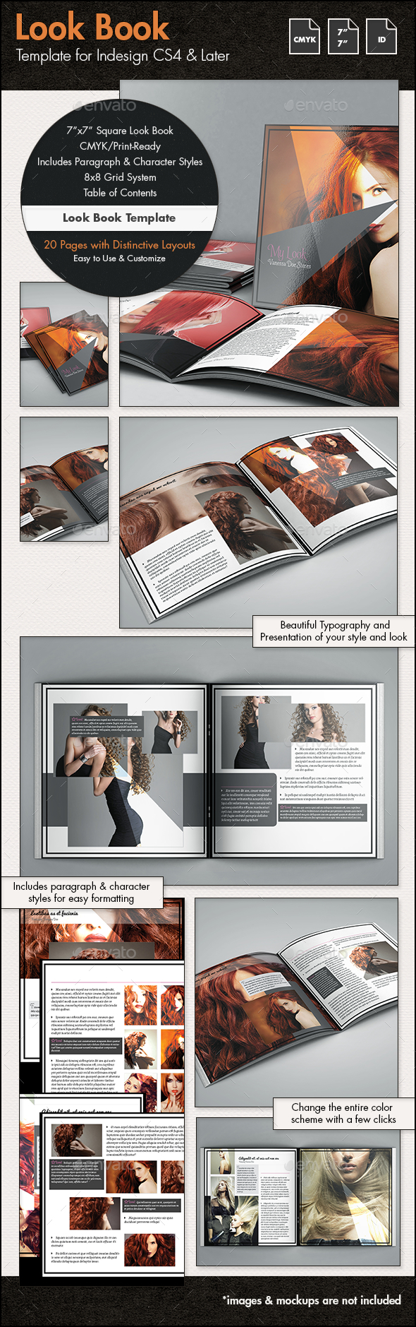 Look Book Template - 7x7in - Photo Albums Print Templates