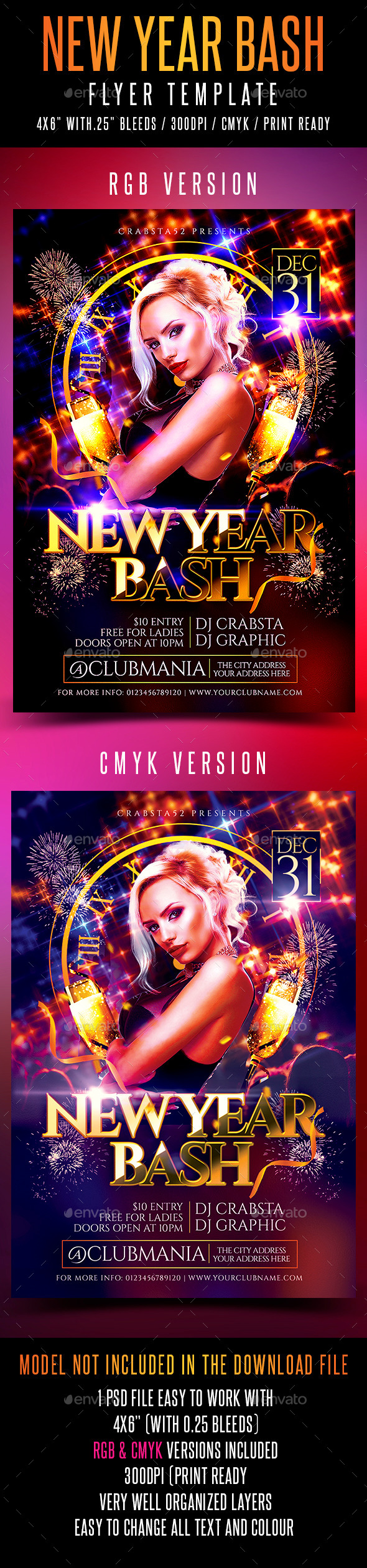 New Year Bash Flyer Template - Flyers Print Templates