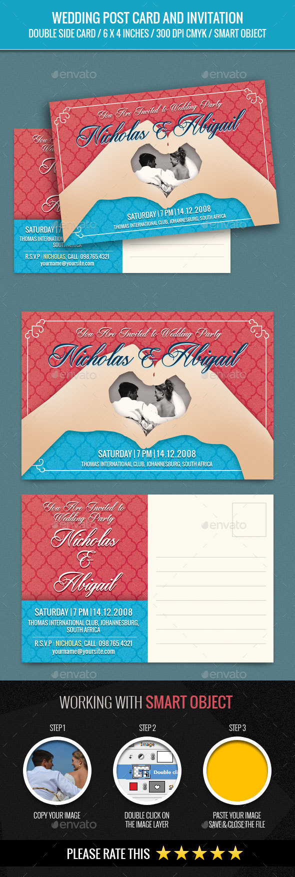 Wedding Invitation Post Card Template - Weddings Cards & Invites