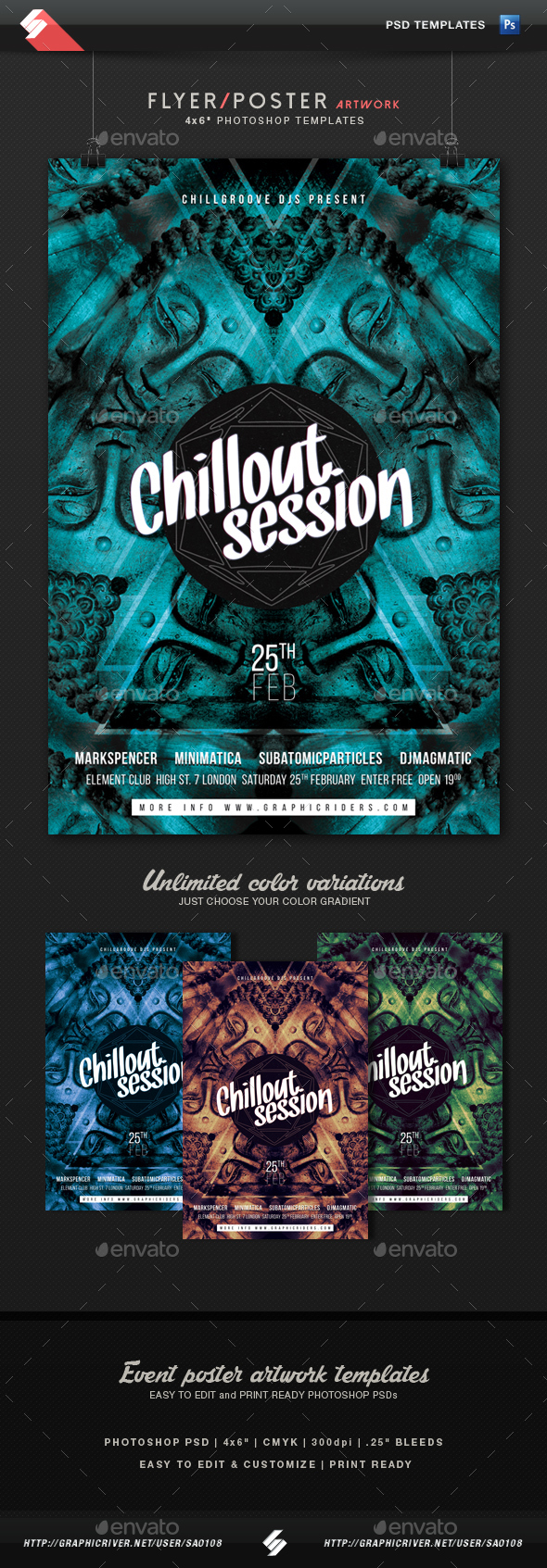 Chillout Session - Event Flyer Artwork Template - Clubs & Parties Events