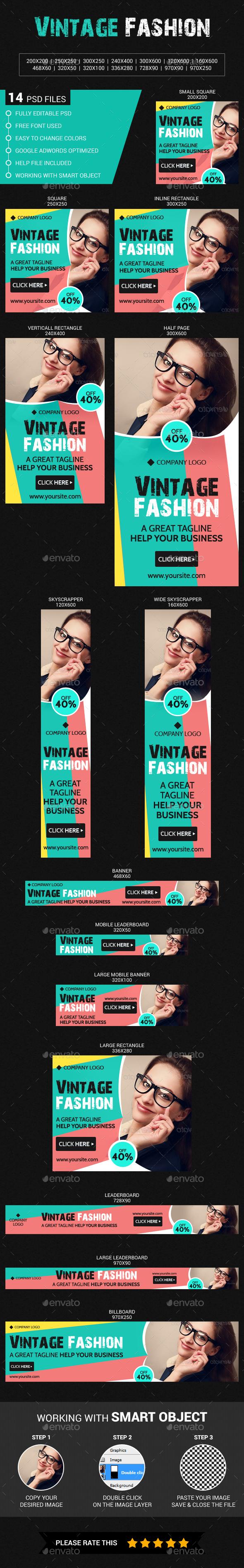 Vintage Fashion Sale - Banners & Ads Web Elements