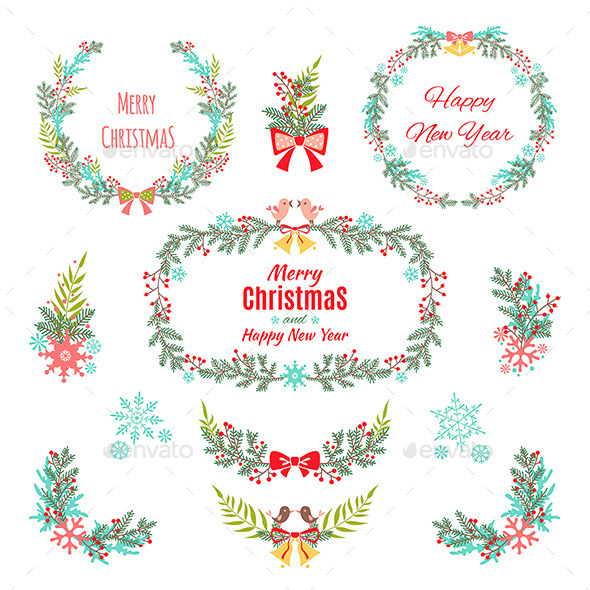 Set of Christmas and New Year Graphic Elements - Christmas Seasons/Holidays