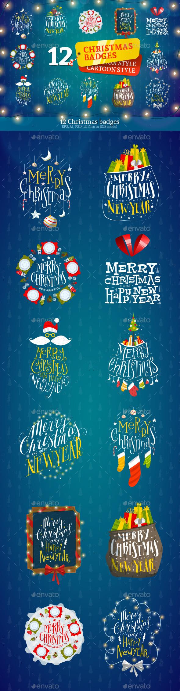 12 Christmas Badges - Christmas Seasons/Holidays