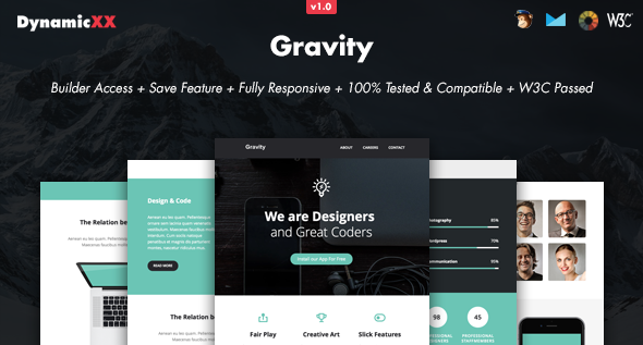 Gravity – Responsive Email + Online Builder