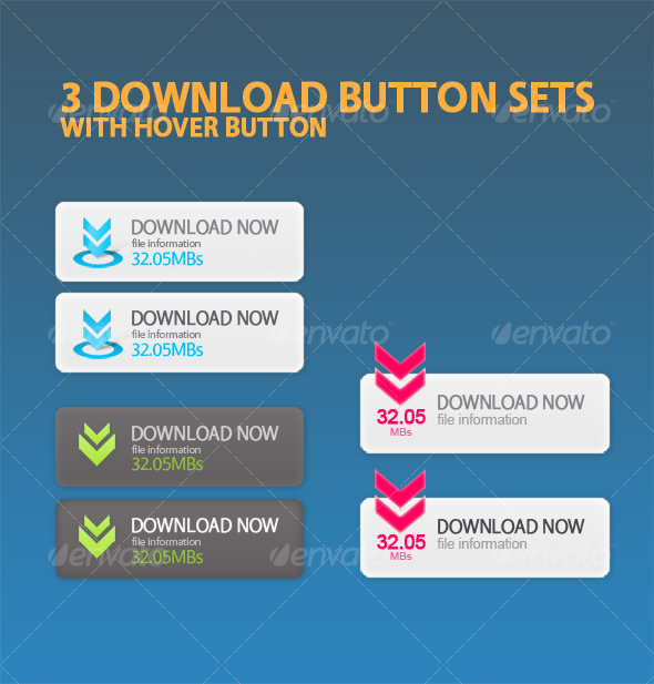Download Now button sets with hover buttons - Buttons Web Elements